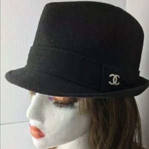 Chanel Wool Blend Fedora Hat Silver Rhinestone CC